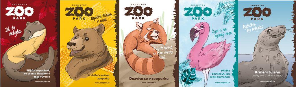 Plakáty se zvířecími minipříběhy, které změnu vizuální prezentace zooparku doprovázejí.