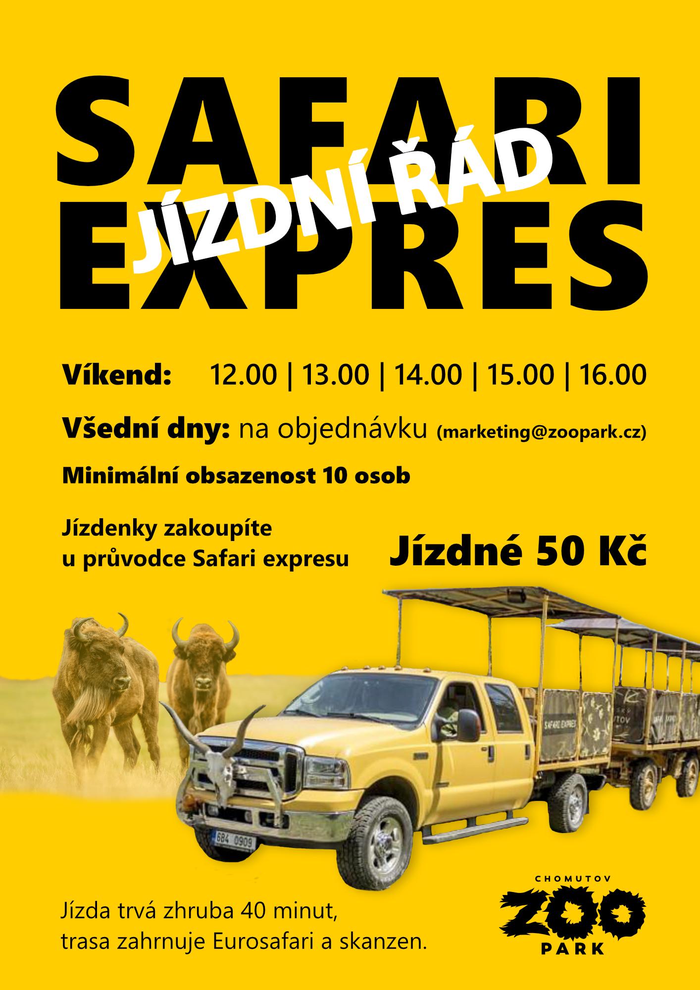 Jízdní řád Safari Expresu mimo letní prázdniny