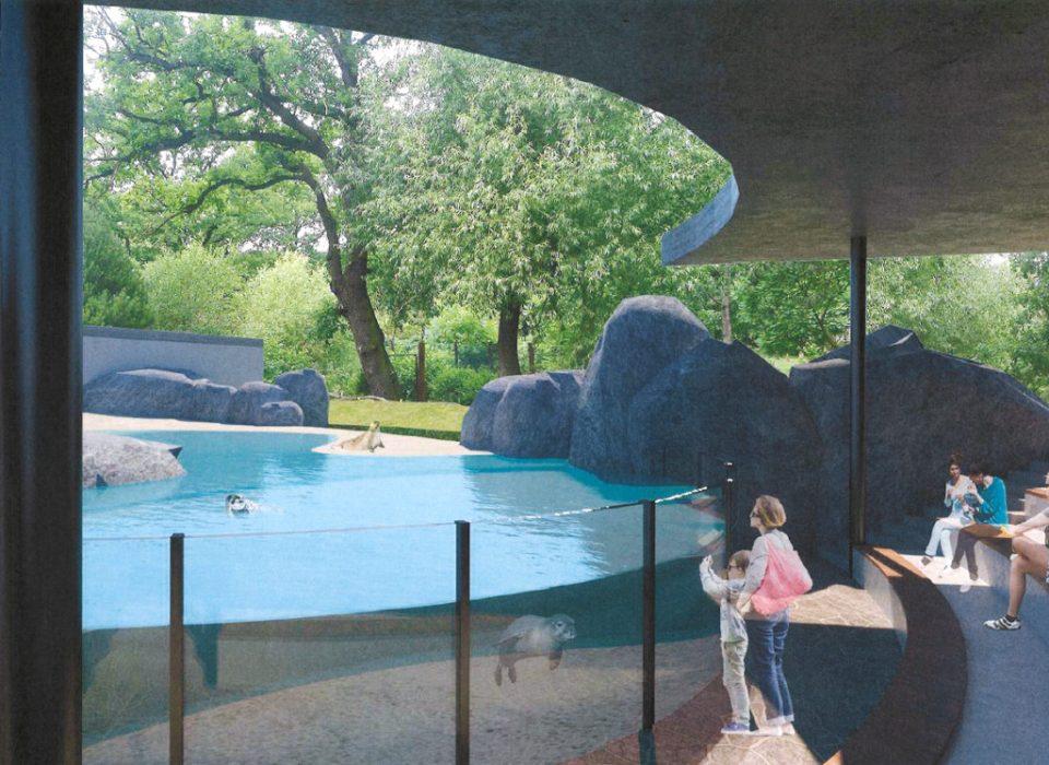 Jedna z vizualizací v rozvojové studii zooparku ukazuje nově pojatou expozice tuleňů. Foto atelier AND